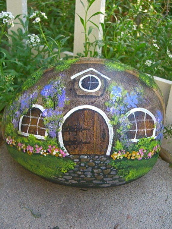 A Hobbit Hole Easter Egg!    I KNEW that if I went looking for an Easter themed Hobbit Hole picture I would find it!    (ok, it's a painted rock, but close enough!)