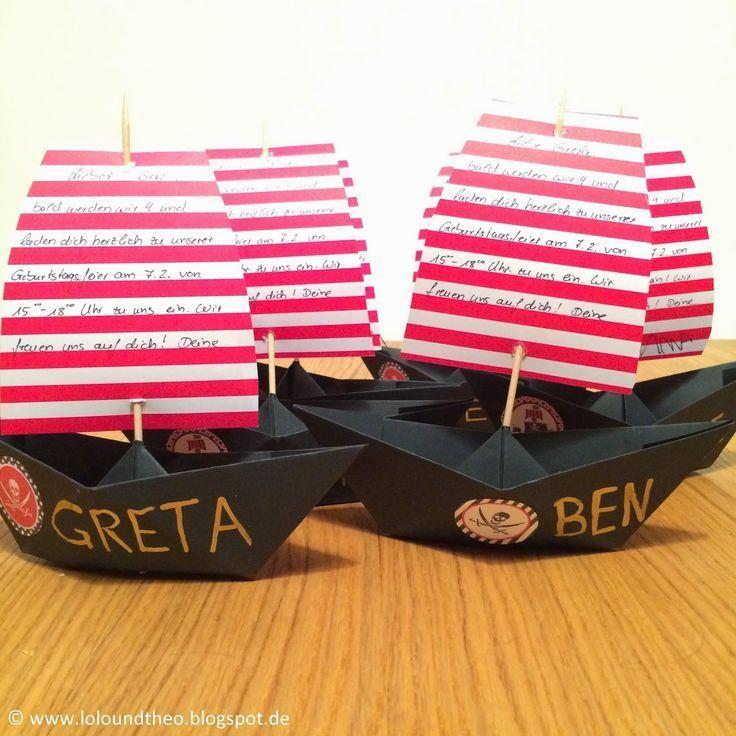 Mit einer passenden Piraten-Einladung für den Piraten-Kindergeburtstag kommen die kleinen Gäste schon vor der Party in die Stimmung. Weitere Ideen für Deine Piraten-Party findest Du bei blog.balloonas.com