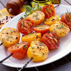 Grilled Tomatoes with Basil Vinaigrette    Serve these with grilled fish or chicken, or make them part of a colorful veggie plate.