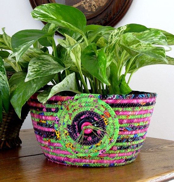 Coiled Rope Basket   Bowl  Bright Green and Pink by SallyManke, $38.00