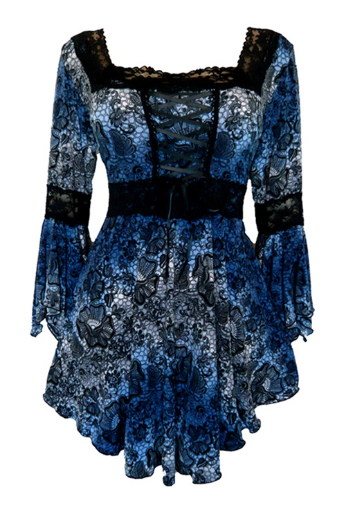 Dare to Wear Gothic and Victorian inspired plus size Renaissance corset top in Twilight with black lace