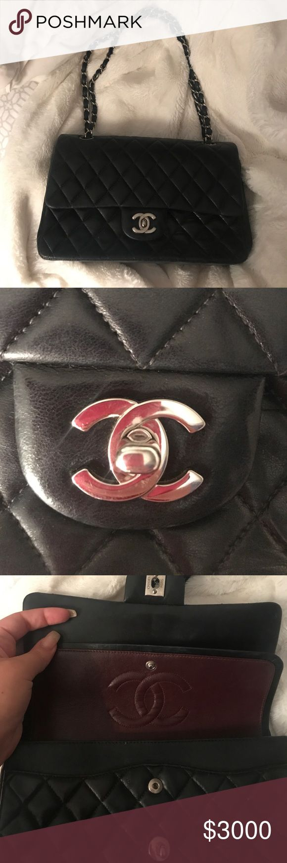 CHANEL DOUBLE FLAP BAG W SILVERHARDWARE Authentic Chanel Double Flap bag with silver hardware! CHANEL Bags Shoulder Bags