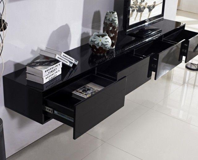 meuble-tv-suspendu-noir-laqué-4-tiroirs-rangement