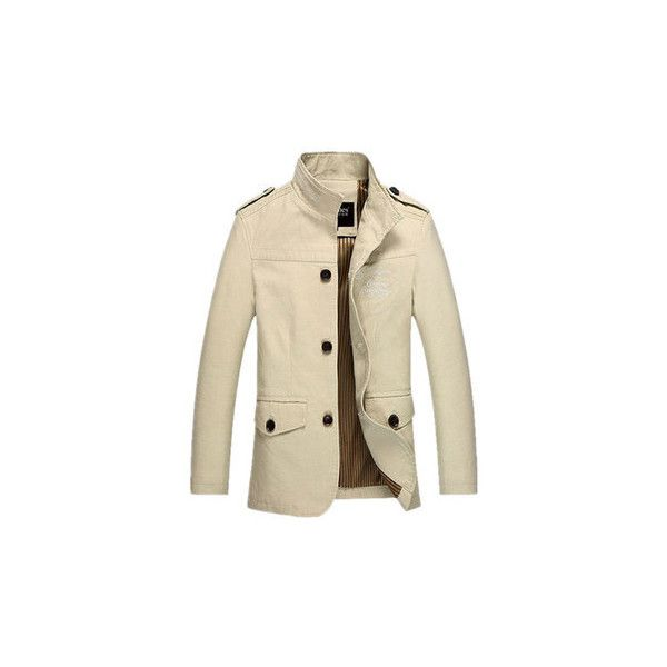 Casual Business Epaulet Printing Logo Thin Overcoat For Men ($33) ❤ liked on Polyvore featuring men's fashion, men's clothing, men's outerwear, men's coats, beige, men coats & jackets, mens beige trench coat, mens fur collar overcoat, mens fur lined coat and mens coats
