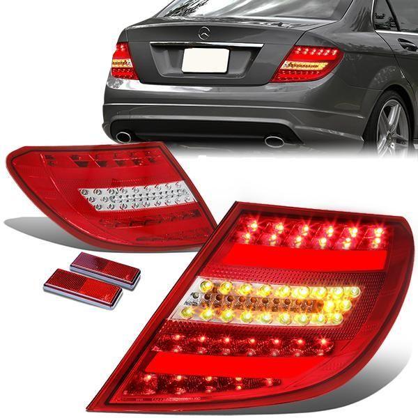 12 14 Mercedes Benz W204 C Class Led Rear Brake Tail Lights Red Housing Tail Light Rear Brakes Mercedes Benz
