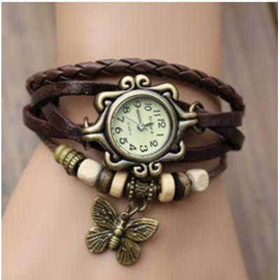 Relógio De Pulso Feminino Pulseira De Couro Com Pingente - R$ 31,99 no MercadoLivre