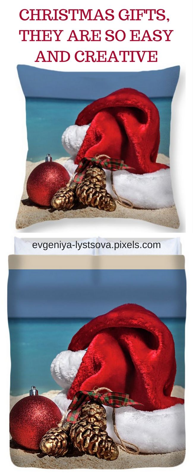 Duvet Cover and Throw Pillow featuring the photograph Christmas Hat by Evgeniya Lystsova. Let your Gift stand out from everybody else's! SHIPS WITHIN 3-4 business days. #EvgeniyaLystsovaFineArtPhotography #Christmas #Beach #SantaHat #Decorations #Gifts #HomeDecor #GreetingCards