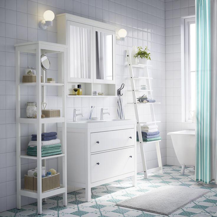 HEMNES / ODENSVIK Kast voor wastafel met 2 lades, wit