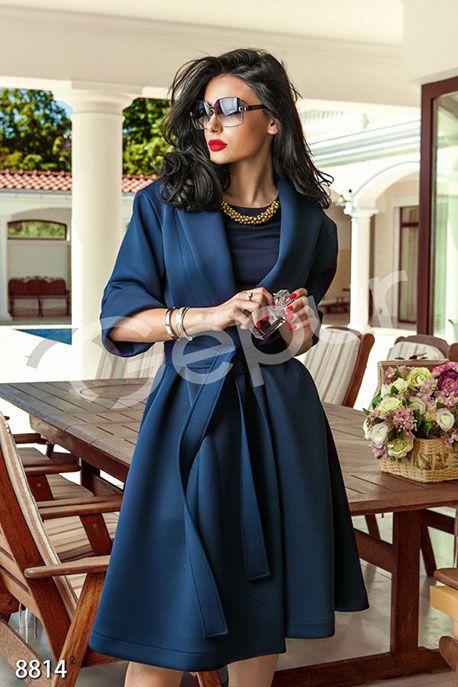 Темно синее пальто с рукавом 3/4 фото 1
