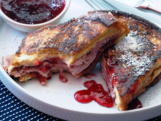 Monte Cristo Sandwich (Fried Ham and Swiss with Red Currant Jelly) from Serious Eats (http://punchfork.com/recipe/Monte-Cristo-Sandwich-Fried-Ham-and-Swiss-with-Red-Currant-Jelly-Serious-Eats)