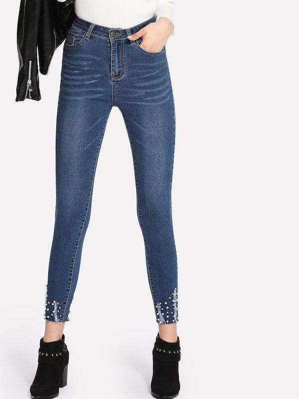 Pearl Beading Shredded Hem Jeans Shein Sheinside Women Denim Jeans Denim Women Stylish Jeans