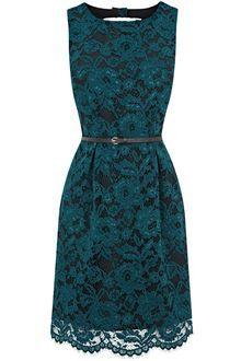 Ladylike | Oasis Lace Lily Lantern Dress in Green