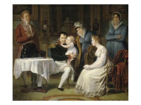 식사시간에 나폴레옹 1세에게 안겨있는 로마왕과 마리 루이즈 왕비 - 알렉상드르 망조  19세기경. 퐁텐블로 성.  작품 속 왼편의 여인은 마리 루이즈 왕비로 나폴레옹이 왕비인 조세핀을 아이가 없다는 이유로 내쫓고 재혼한 여인입니다. 마리는 조세핀과 달리 임신을 하여 아들을 낳았고 이 아이는 훗날 로마왕이 됩니다. 그림 속 나폴레옹이 안고 있는 아이가 바로 로마왕이 되는 아이입니다. 나폴레옹이 알프스를 넘는 그림 속에서는 더없이 용맹하였으나 이 작품 속에서 가족과 미소짓고 있는 모습을 보니 그도 남편이자 아버지라는 걸 느낄 수 있습니다.