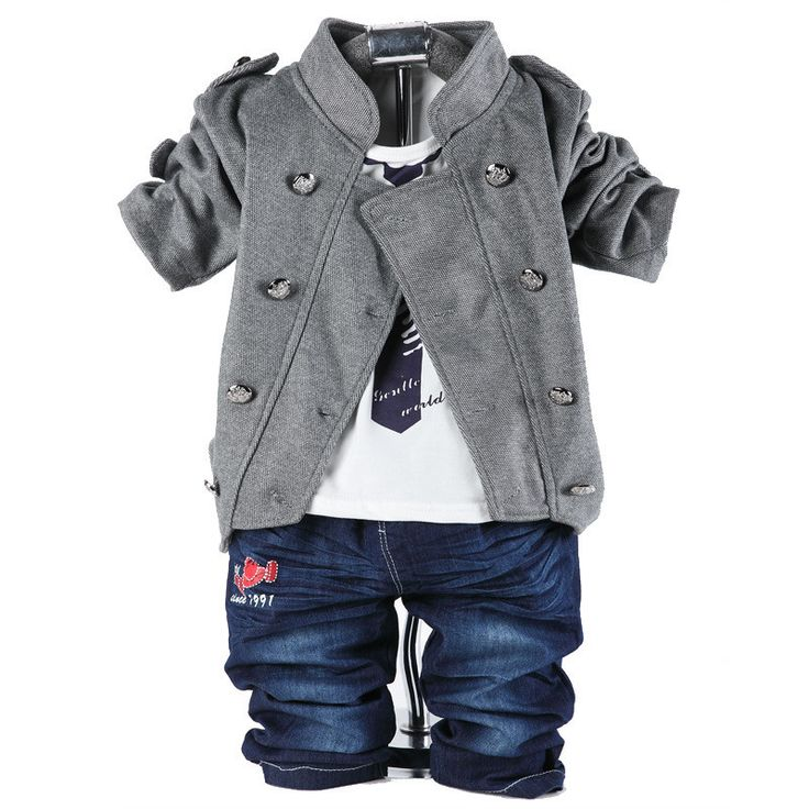 NEW 2015 spring children clothing set baby boys 0-3 years old double-button three-pieces baby set
