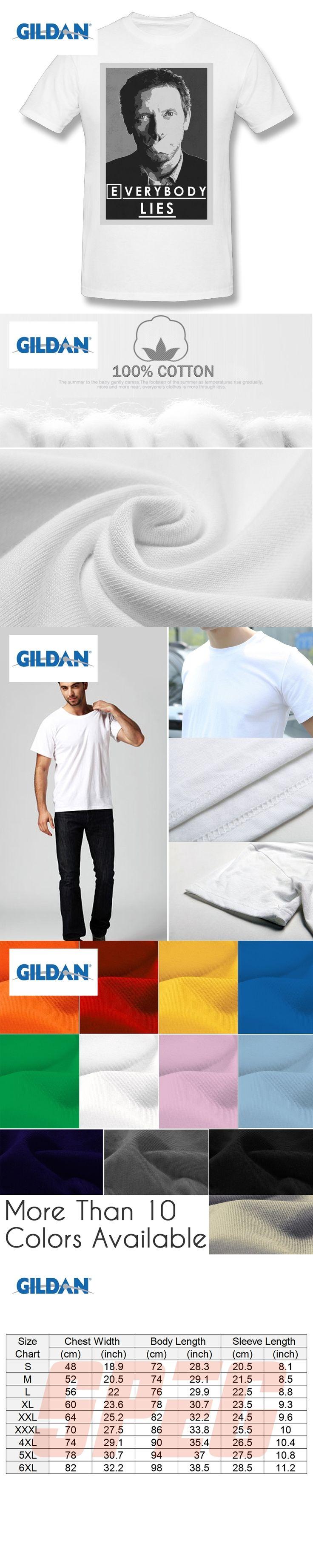GILDAN Men T Shirts Everybody Lies T-Shirt Dr House MD Mens Tops Man Round Neck Short Sleeve T-Shirt Hot Sale New Male