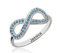 Birthstone Infinity Personalised Ring Sterling Silver