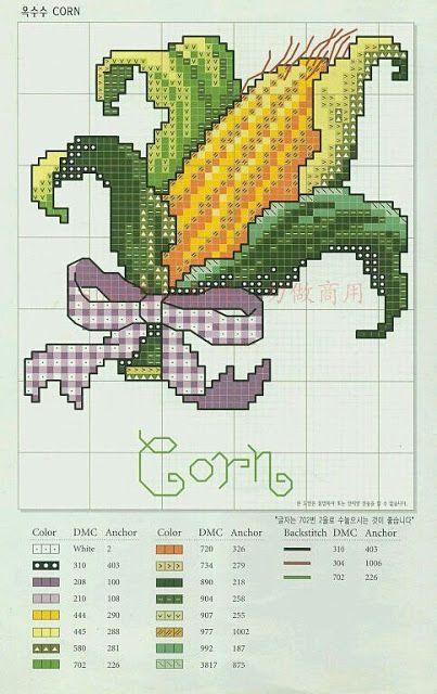 ♥ Mon point Graphiques Cruz ♥: Légumes Graphics et légumes en point de croix