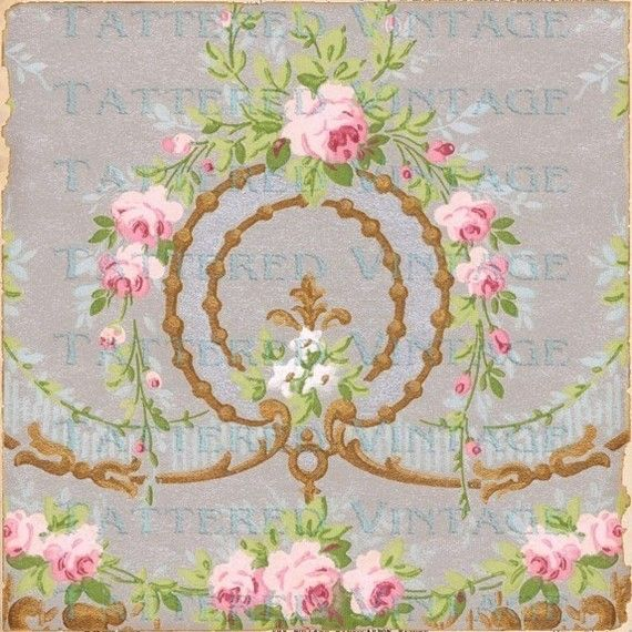 Silver Wreath Instant Download no.417 Old French Roses 13x13 Antique Wallpaper Collage Sheet Tattered Vintage 417