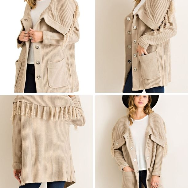 Cream Comfy Cozy Fringe Jacket/Cardigan - Sm to Lg. Also available in Burgundy. This will go fast! #shopsalice #shoplocal #saliceLKN #salicestatesville ~ Tuesday Specials ~ * Clothing: Buy 1, Save 15%, Buy 2 Save 20% off  (excluding name brands & sales items)  * Sandals 50% off * Southern T's $10 * All Sales Racks Flat $15