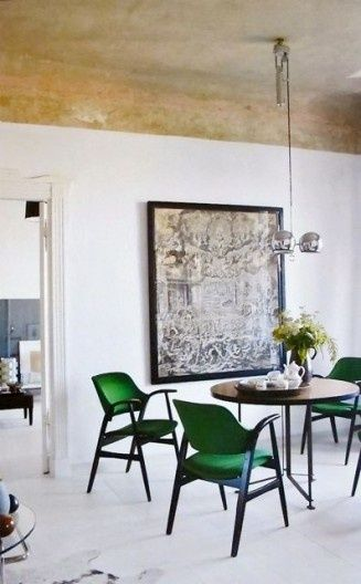 art, gold on the ceiling, dining room, eating area, minimal, table, chairs, danish modern, wood, painted wood floors, white walls, framed, chandelier, silver repin: Emerald green chairs
