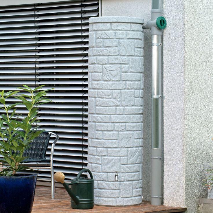 Diese Regentonne mit 460 L Volumen in der Farbe granit überzeugt durch die naturbetreue Nachbildung einer eleganten Natursteinsäule. #regentonne #regentonnenshop www.regentonnenshop.de