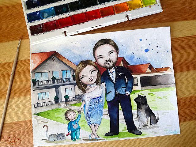 potrait by #dushky | #art #illustration #painting #watercolor #portrait #family