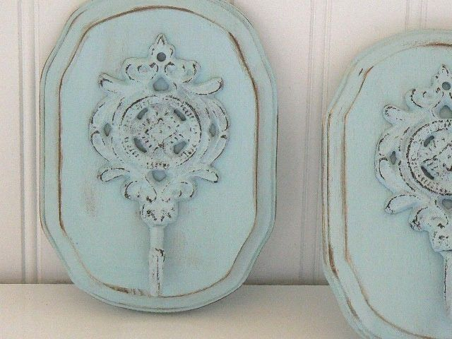 Soft Shabby Chic  Blue   Upscaled  Iron Wall Hook Plaque. $14.50, via Etsy.