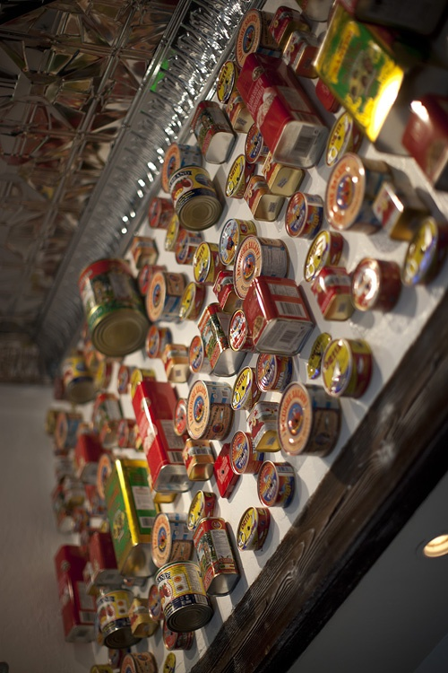 Italian cans on the wall with tin ceilings.  Salito's Crab House & Prime Rib  1200 Bridgeway, Sausalito, CA  415.331.3226