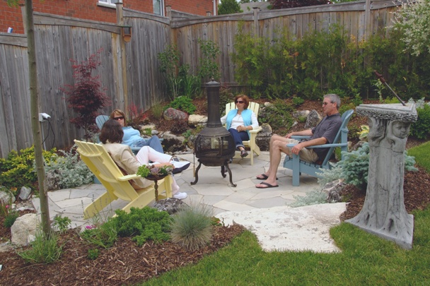 Garden Vignette - the early stages of a backyard transformation. Always make time to enjoy the fruit of your labour, create sitting areas and garden great rooms throughout your property.