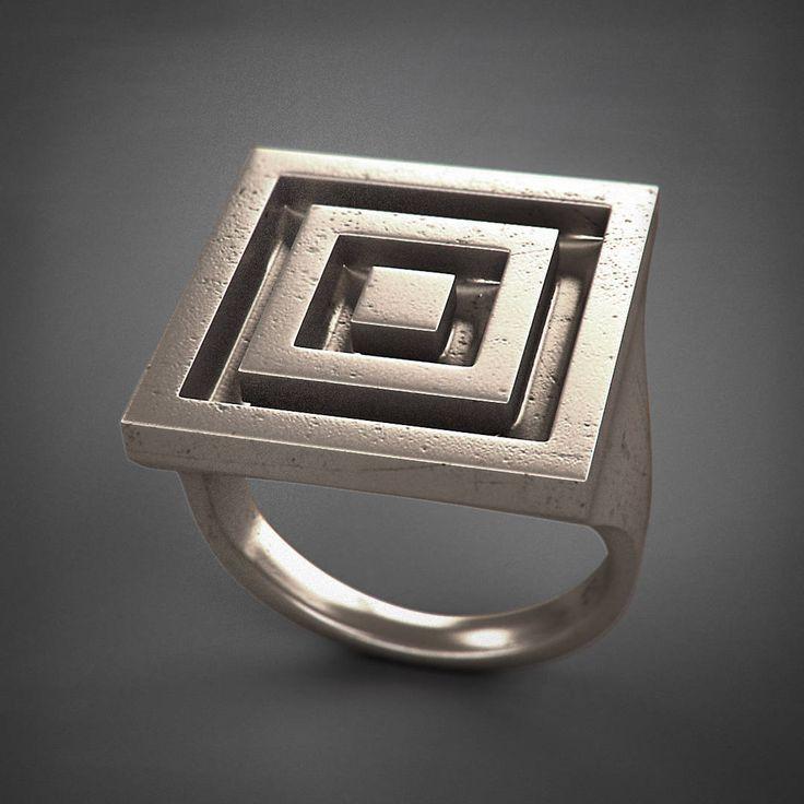 Square Ring - Cocentric - acciaio/argento/titanio di Printmyjewel su Etsy #printmyjewel @printmyjewel