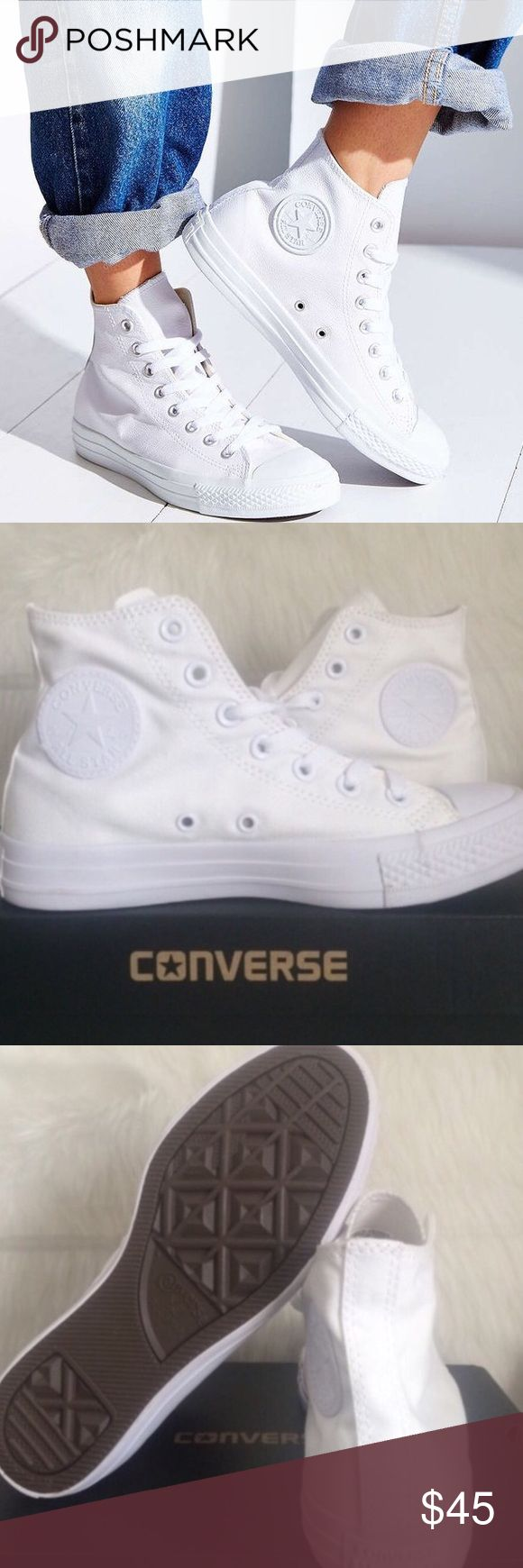 CONVERSE MONOCHROME ALL WHITE WOMENS SIZE 7.5 All white converse Chuck taylors. Brand new in box. Womens size 7.5. Converse Shoes Sneakers