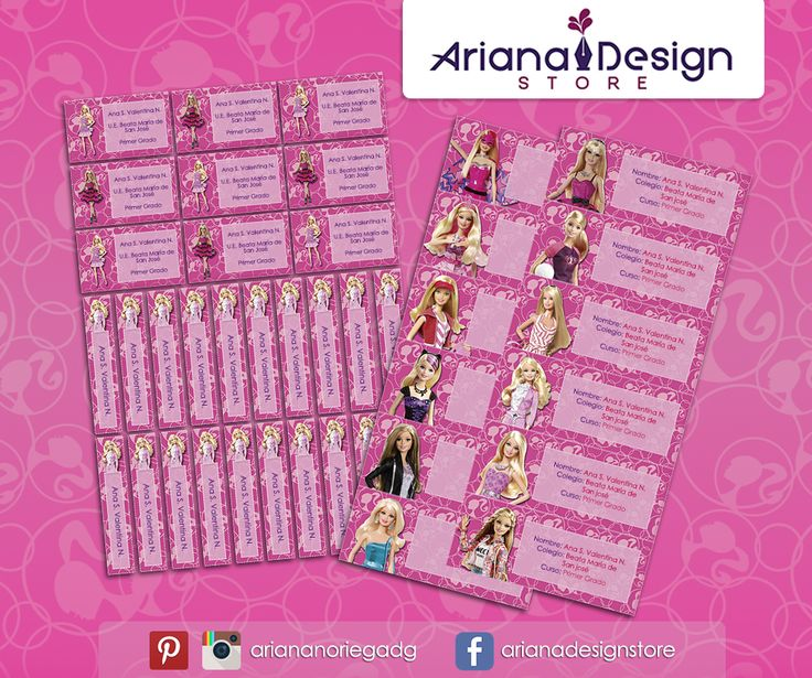 #etiquetas #etiquetasescolares #barbie #arianadesignstore #barbiedoll #barbieparty #barbiefashion #nametag #label #school #stickers #schoolsupplies