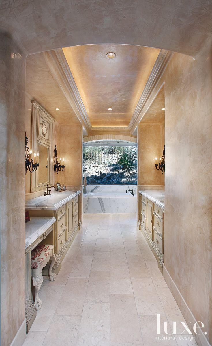 Gray bathroom vanities on pinterest view more bathrooms 187 bathroom - See More Italian Calacatta Marble Fashions The Countertops Of The Master Bath S Custom Vanities Timeworn Limestone Covers