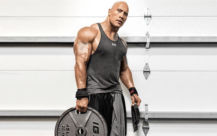 Lataa kuva Dwayne Johnson, harjoitus, Koulutus, lihaksisto, Amerikkalainen näyttelijä