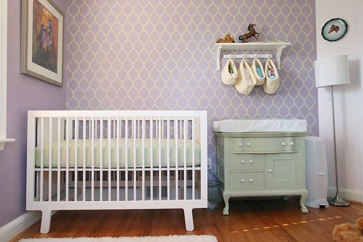Purple and Green Stenciled Girl's Nursery