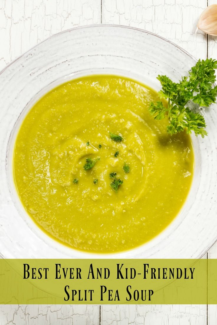 Looking for an easy way to get your kids to eat their veggies--try this amazing Split Pea Soup that they are sure to love! A great way to get kids to try this soup is to let them add in some small croutons, as long as they are getting all of these veggies..what's a few more carbs!