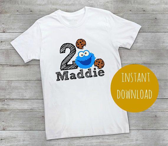 cookie monster, iron on, transfer, tshirt, t-shirt, iron on transfer, sesame street, birthday t-shirt, kids birthday t-shirt, iron on, elmo