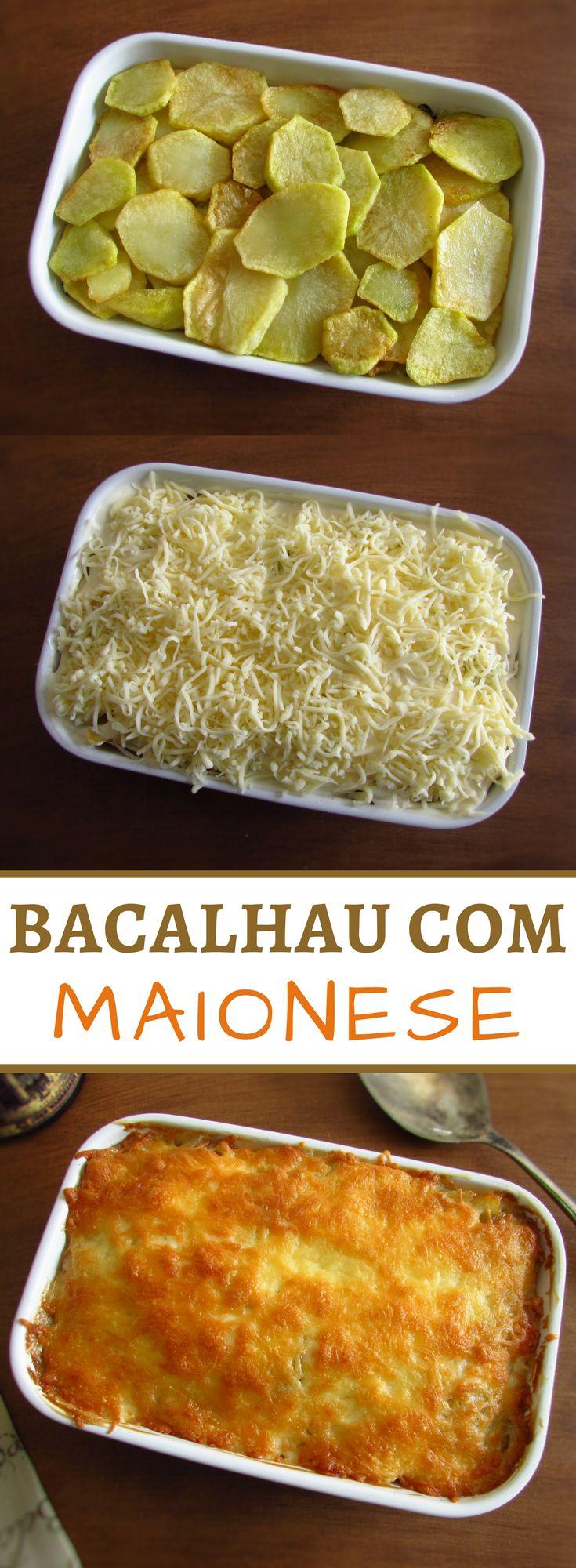 Bacalhau com maionese | Food From Portugal. Para inovar as suas receitas de bacalhau, aqui tem uma excelente opção. Prepare esta receita de bacalhau com maionese no forno, é uma delícia e tem óptimo aspecto! #receita #bacalhau #maionese