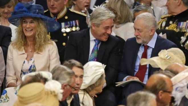 Labour Party leader Jeremy Corbyn, right, speaks with John Bercow, the Speaker of the House of Commons