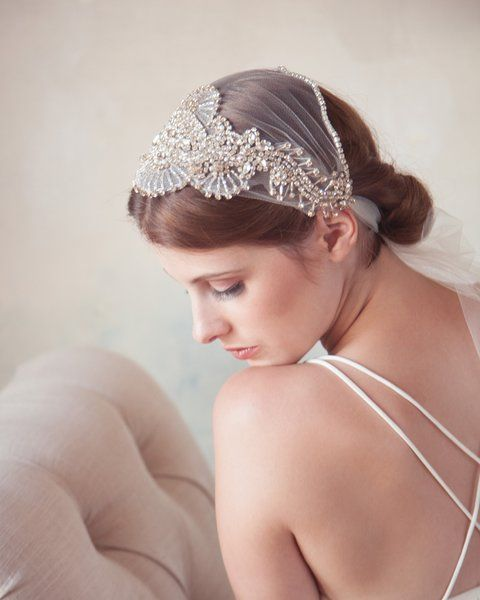 Unique Bridal Headpieces: Art Deco Bridal Headband, Modern Veil, Great Gatsby