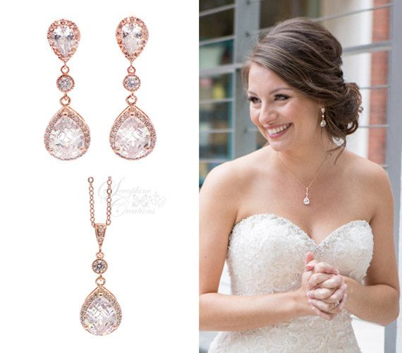 Rose Gold Bridal Jewelry Set Earrings Necklace Wedding Jewelry Teardrop Dangle Pendant Classic Bridesmaid Gifts Bridal Set