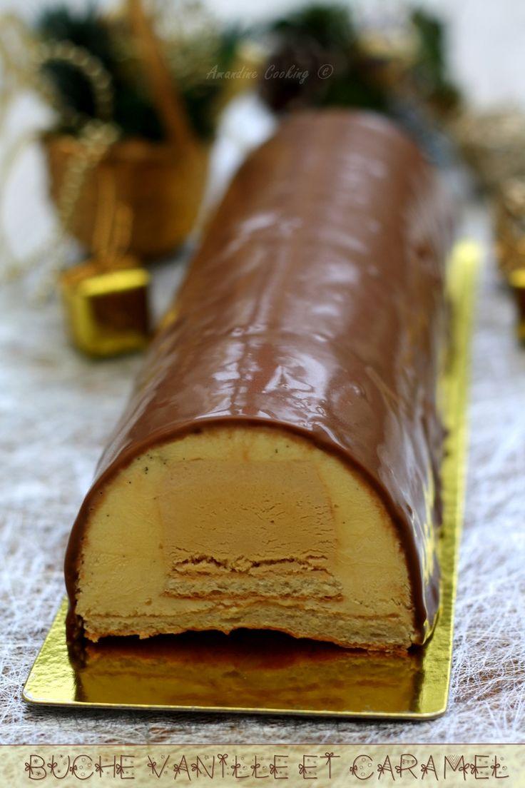 Bûche de Noël à la vanille et caramel au beurre salé