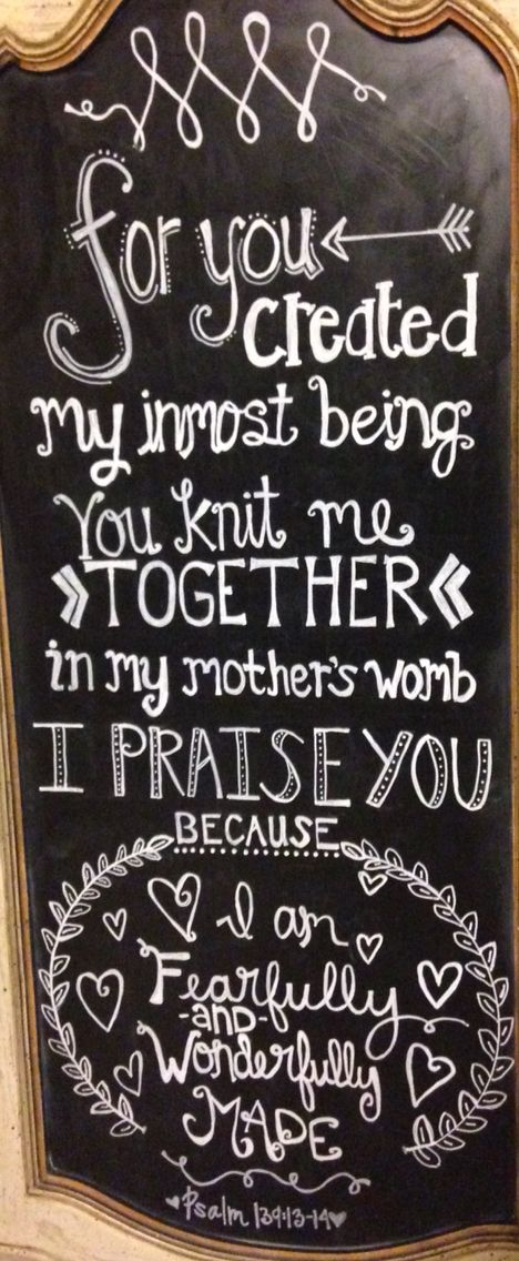 Baby shower scripture chalkboard. FEARFULLY AND WONDERFULLY MADE Psalm 139: 13-14