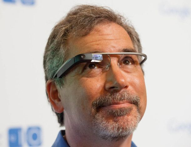 I try the Google glasses. Sort of  Sergey Brin lets a few journalists try on the Google glasses, though we don't get access to the really cool stuff.