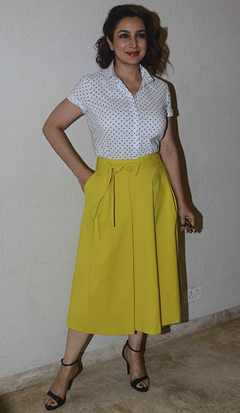 Tisca Chopra in a Marks & Spencer outfit and Zara shoes