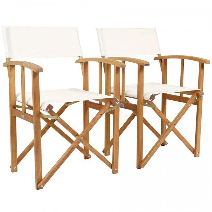 Folding Directors Chair Set 2 Wooden Outdoor Garden Relax Camping Fabric Cream