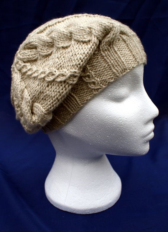 Hand knitted stylish small woollen cabled beret in 'Limestone'. Handknit hat. Knit hat.