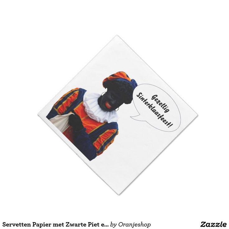 Servetten Papier met Zwarte Piet en Eigen Tekst Standard Cocktail Napkin