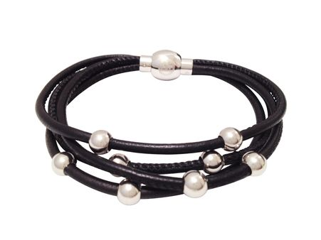 Nappa leather bracelet with stainless steel beads and magnetic clasp.  Approximately 18cm.