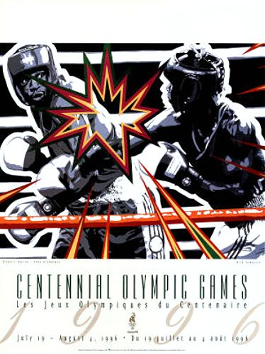 Atlanta 1996 Olympics OLYMPIC BOXING Official Event Poster by Hiro Yamagata - Available at www.sportsposterwarehouse.com